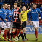 Huge clash: Linfield's Mark Stafford will renew hostilities with Crusaders midfielder Declan Caddell today