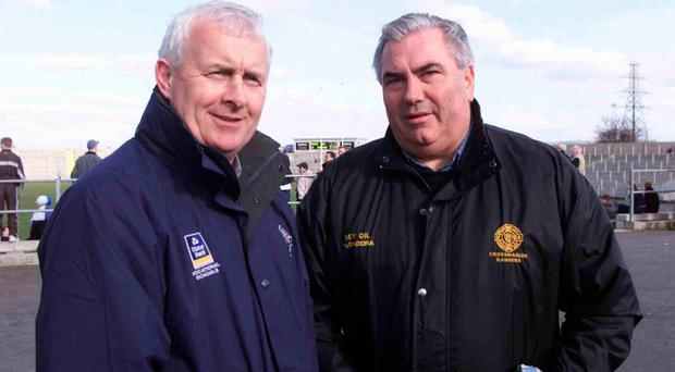 Marching on together: Jimmy Smyth (left) with old friend and former Armagh team-mate, Joe Kernan