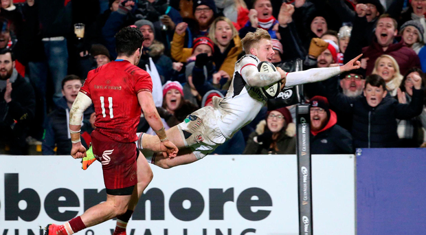 Late show: Rob Lyttle dives over for Ulster's bonus-point try