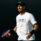 Struggling: Andy Murray practises last week in Abu Dhabi