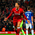 Late drama: Virgil van Dijk celebrates his winner for Liverpool