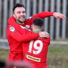 Cliftonville's Jamie Harney celebrates scoring INPHO/Matt Mackey