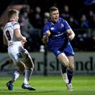 Leinster's Jordan Larmour celebrates scoring the first try of the game Pic: INPHO/Ryan Byrne