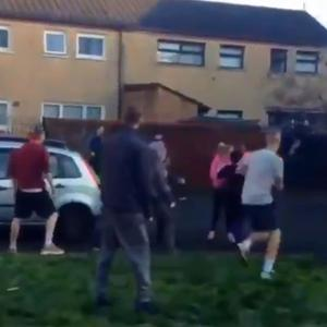A still from footage of the fight in west Belfast