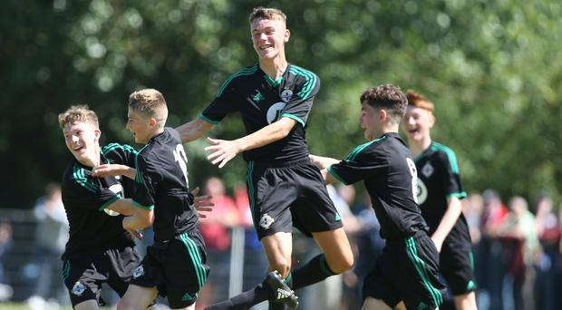 Club NI's Sean McAllister celebrates scoring at last year's Super Cup NI tournament. Picture by Brian Little/PressEye