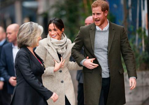 Prince Harry and Meghan Markle arriving for a visit to youth-orientated radio station, Reprezent FM, in Brixton, south London to learn about its work supporting young people. PRESS ASSOCIATION Photo. Picture date: Tuesday January 9, 2018. The Reprezent training programme was established 10 years ago in response to the rise in knife crime, to help young people develop and socialise through radio. Yui Mok/PA Wire