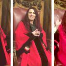 Jayda Fransen sits in the Lord Mayor's seat.