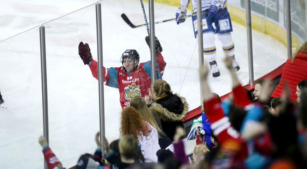Belfast Giants Brendan Connolly celebrates scoring against the Fife Flyers during Tuesday nights Challenge Cup quarter-final at the SSE Arena, Belfast. William Cherry PressEye