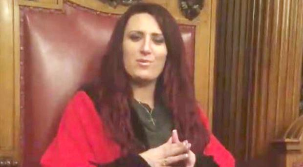 Britain First's Jayda Fransen in the Lord Mayor's chair
