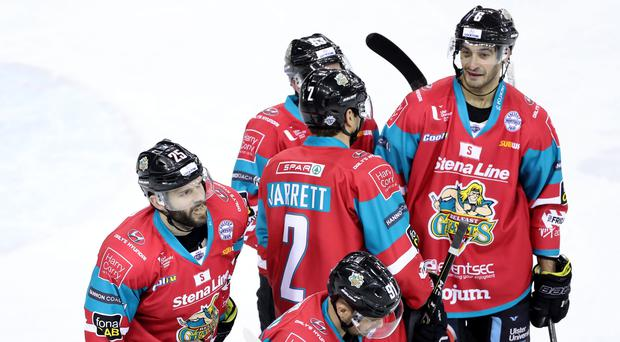 Main man: Blair Riley hails his goal for the Belfast Giants