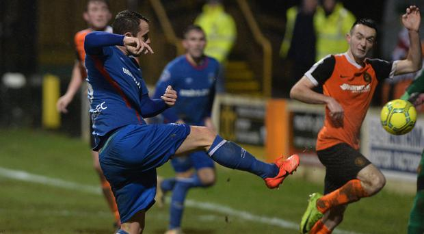 Take that: Kurtis Byrne nets his first goal for Linfield