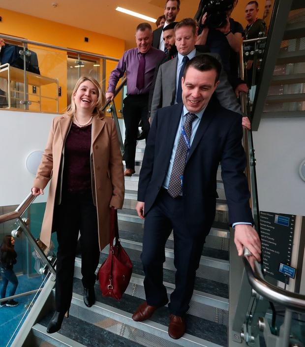 Karen Bradley visiting Belfast Metropolitan College in the Titanic Quarter of the city, during her first visit as Northern Ireland Secretary. Liam McBurney/PA Wire