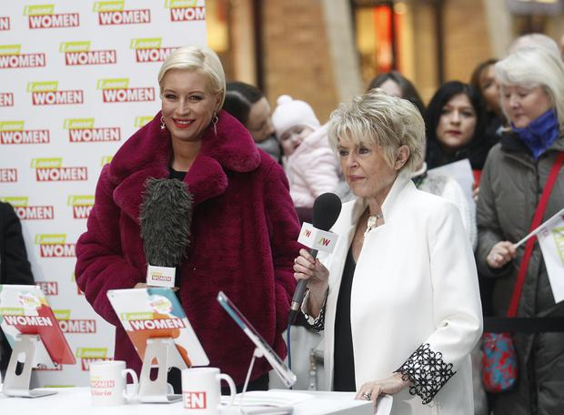 Loose women hosts Danise Van Outen and Gloria Hunniford during filming of the show in the Victoria Square. Pic by Peter Morrison