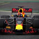 Max Verstappen of the Netherlands driving Red Bull Racing's RB13 on track