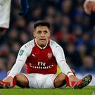 Arsenal's Chilean striker Alexis Sanchez during the English League Cup semi-final first leg football match between Chelsea and Arsenal at Stamford Bridge in London on January 10, 2018.