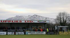 All change: Warrenpoint's Milltown ground will now be known as the Q Radio Arena as part of the new sponsorship deal