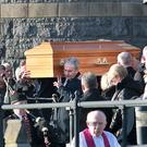 The funeral of former TD Paddy Harte at Raphoe, Donegal yesterday