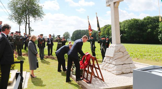 The Duke of Cambridge (right) and Taoiseach Enda Kenny lay wreaths at the 16th Irish Division Memorial Cross last year in Belgium