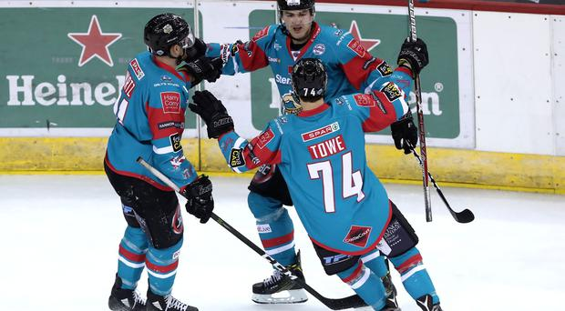 Belfast Giants Jonathan Ferland celebrates scoring against Nottingham Panthers during Friday nights Elite Ice Hockey League game at the SSE Arena, Belfast. Photo by William Cherry/Presseye