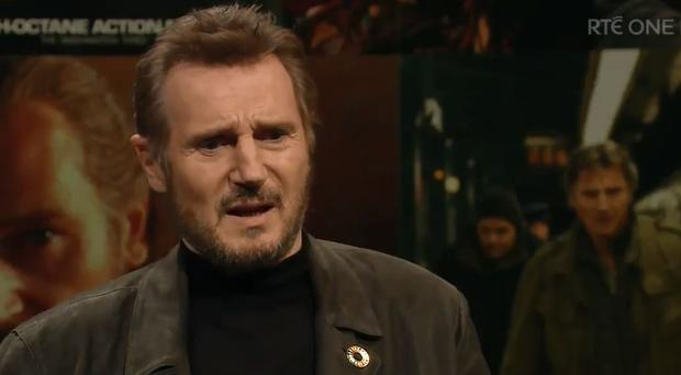 Liam Neeson appearing on Friday's The Late Late Show / Credit: RTE