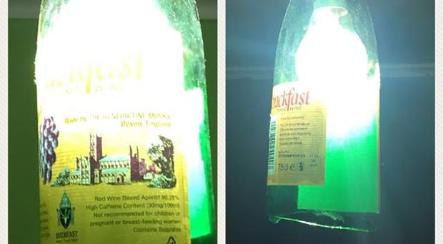 The Buckfast lightshade discovered by PSNI officers / Credit: PSNI Craigavon