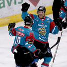 Belfast Giants' Sebastien Sylvestre celebrates scoring against Nottingham Panthers during Saturday nights Elite Ice Hockey League game at the SSE Arena, Belfast.