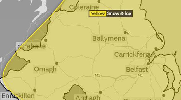 A yellow snow and ice warning has been issued for Northern Ireland  Credit Met Office