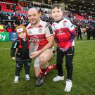 Ulster's Rory Best celebrates Saturday's success with his sons Richie and Ben