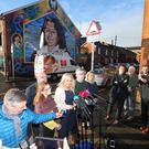 Sinn Fein's Michelle O'Neill talks to the media outside the party's offices on the Falls Road in west Belfast regarding the resignation of Barry McElduff as MP for West Tyrone. Picture by Jonathan Porter/PressEye