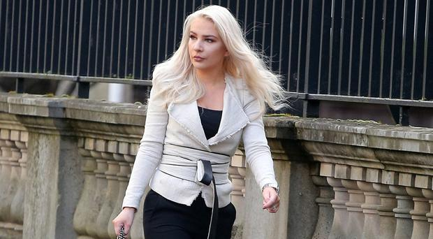 Model Laura Lacole pictured entering the High Court in Belfast where she was attending the Court of Appeal regarding her Humanist wedding.
