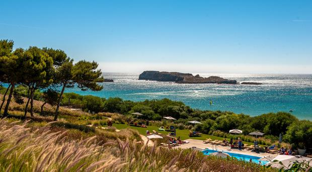 View from beach house: If you stay at the Martinhal Sagres this view could greet you every morning with the main swimming pool below and the beach beyond