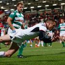 What a journey: Tommy Bowe crosses the whitewash for Ulster against Benetton in November