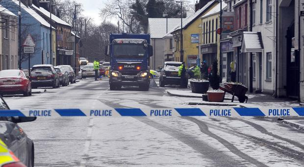 PACEMAKER BELFAST 16/01/2018 Scene of a road accident in the north Antrim village of Broughshane. The accident happened in the Main street of the village which remains closed. It is believed a pedestrian was struck by this bin lorry.
