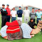 Animal magic: Rory McIlroy (right) with (from left) Henrik Stenson, Matt Kuchar, Tommy Fleetwood, Justin Rose, Dustin Johnson and Paul Casey ahead of the Abu Dhabi HSBC Championship