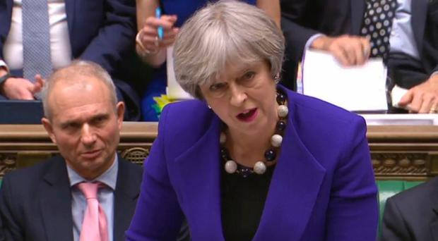 Theresa May speaks during Prime Minister's Questions. Pic PA Wire