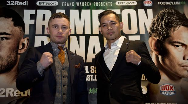 Carl Frampton and Nonito Donaire during their press conference at The Europa Hotel in Belfast.