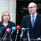 Northern Ireland Secretary Karen Bradley and Irish foreign affairs minister Simon Coveney speaking to the media at Stormont in Belfast where they announced fresh round of political talks aimed at restoring powersharing in Northern Ireland. Brian Lawless/PA Wire