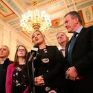 Sinn Fein's Northern Ireland Leader Michelle O'Neill speaking in the Great Hall in Stormont after Northern Ireland Secretary Karen Bradley and Irish foreign affairs minister Simon Coveney announced fresh round of political talks aimed at restoring powersharing in Northern Ireland. Brian Lawless/PA Wire