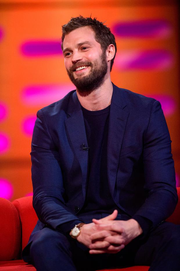Jamie Dornan, during the filming of the Graham Norton Show at The London Studios. PA Images on behalf of So TV/PA Wire