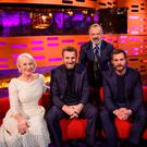 (Left-right) Helen Mirren, Liam Neeson, Graham Norton, Jamie Dornan and Sigrid, during the filming of the Graham Norton Show. PA Images on behalf of So TV/PA Wire