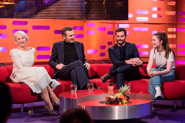Helen Mirren and Liam Neeson, Jamie Dornan and Sigrid during the filming of the Graham Norton Show. PA Images on behalf of So TV/PA Wire