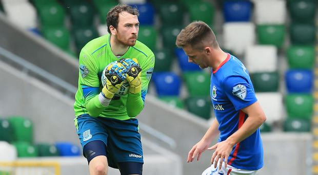 Conor Brennan in action during his Ballymena debut at Windsor Park.