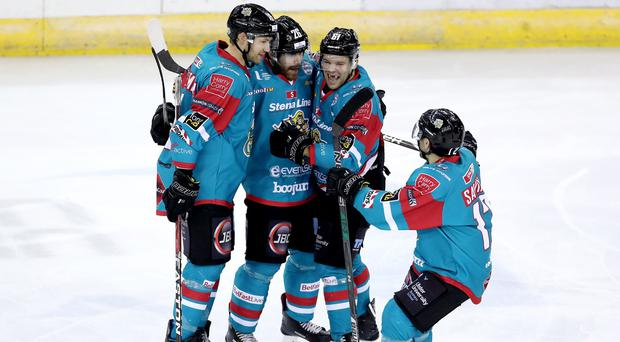Press Eye - Belfast - Northern Ireland - 19th January 2018 - Photo by William Cherry/Presseye Belfast Giants Brandon Benedict celebrates scoring against Coventry Blaze during Friday nights Elite Ice Hockey League game at the SSE Arena, Belfast.