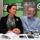 President elect and current deputy leader of the Sinn Fein party Mary Lou McDonald at the Balmoral Hotel in Belfast, after she was confirmed as the sole candidate in the race to succeed Sinn Fein party president, Gerry Adams, after he announced his intention to step down as their leader. Niall Carson/PA Wire