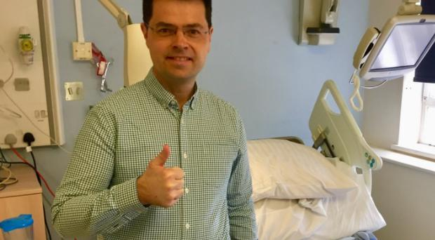 James Brokenshire tweeted a picture of himself leaving hospital.