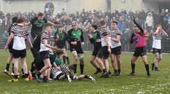Belfast Royal Academy's Oliver Faith scores a try at Roughfort playing grounds in Mallusk on Saturday.
