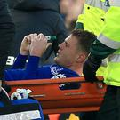 James McCarthy left the field on a stretcher