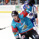 Belfast Giants' Darcy Murphy celebrates scoring his second against Coventry Blaze during Saturday nights Elite Ice Hockey League game at the SSE Arena, Belfast. 20 January 18, ©Press Eye/Darren Kidd