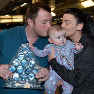 2018 Masters snooker champion Mark Allen returns home to Northern Ireland with his wife Kyla and baby Harleigh. Photo Colm Lenaghan/Pacemaker Press