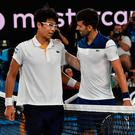 Well beaten: Novak Djokovic congratulates his conqueror Chung Hyeon